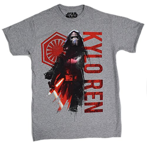 Star Wars Force Awakens Kylo Ren Ruler T-shirt (Large,Heather Grey)
