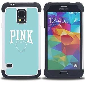 - pink baby blue heart text love clean/ H??brido 3in1 Deluxe Impreso duro Soft Alto Impacto caja de la armadura Defender - SHIMIN CAO - For Samsung Galaxy S5 I9600 G9009 G9008V