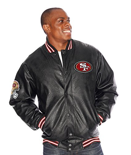 San Francisco 49ers NFLメンズKnuckleball Faux Leather Varsityジャケット