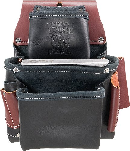 Occidental Leather B5060 3 Pouch Pro Fastener Bag - Black Black Leather Tool Bag