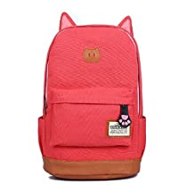 Cat Ear School Style Girl Backpack For School Camping Trip Laptop Multi-function Bag Canvas(watermelon)