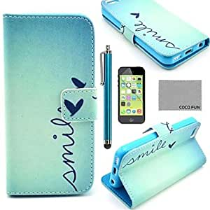 SOL ships in 48 hours COCO FUN? Cute Heart Pattern PU Leather Full Body Case with Screen Protector,Stylus and Stand for iPhone 5C