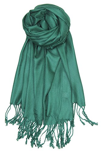 Achillea Large Soft Silky Pashmina Shawl Wrap Scarf in Solid Colors (Emerald Green)
