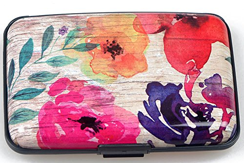 Latest Aluminum RFID Blocking Credit Card Holder for Men Women - Stylish Travel Wallet - Best Protection for Bank Debit, ID, ATM, Cards Against Scanning Criminals,Flowery Print