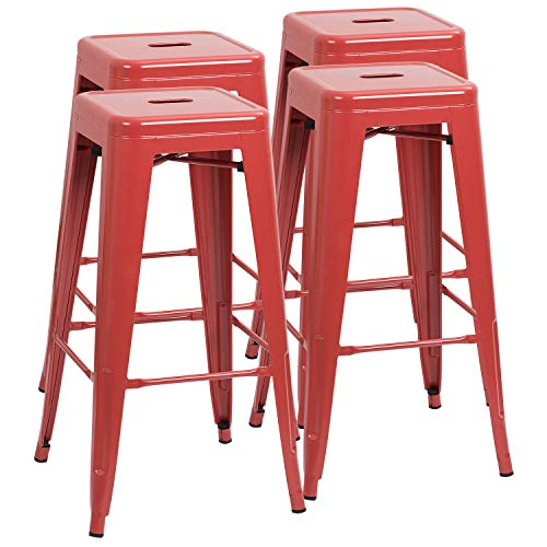 Furmax 30 Inches Metal Bar Stools High Backless Stools Indoor-Outdoor Stackable Kitchen Stools Set of 4(Red) (30' Set Bistro)