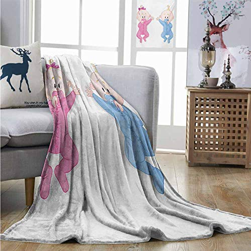 Homrkey Throw Blanket Gender Reveal Babies Lie and Keep The Pacifiers Lovely Toddlers Sweet Childhood Full Size Blanket W70 xL84 Pink Blue and Peach
