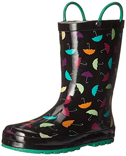 Western Chief Girls Printed Rain Boot, Umbrella Days, 9 M US Toddler (Black Western Water Boots)