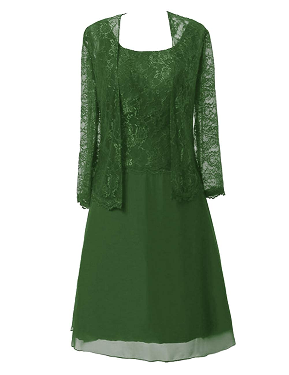 Dark Green Mother of The Bride Dresses Knee Length for Wedding Plus Size Mother Dresses for Women Special Occasion with Jacket