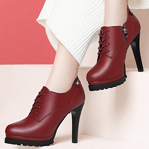 Hauts En Simples Talons Printemps De Chaussures couleur 37 Rouge Fins Rouge Taille Cuir Femme Hwf À wz8x8vXq