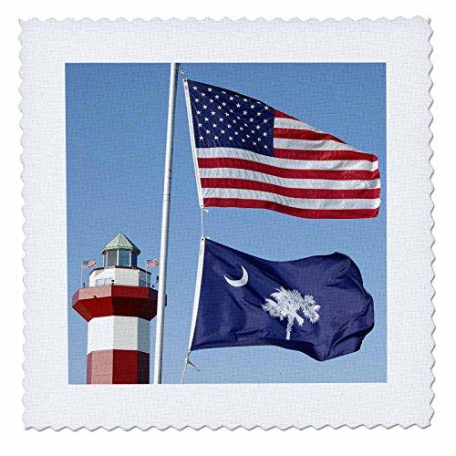 (3dRose Danita Delimont - Lighthouses - Harbor Town Lighthouse, Hilton Head, South Carolinla - US41 LSE0025 - Lynn Seldon - 10x10 inch quilt square)