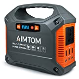 AIMTOM Portable Solar Generator, 42000mAh 155Wh Energy Inverter Supply, Emergency Backup Battery Box with Flashlights, Power Station for Camping, Home Use, CPAP, Travel, Car ( 110V/ 100W AC Outlet, 3x 12V DC, 3x USB Output )