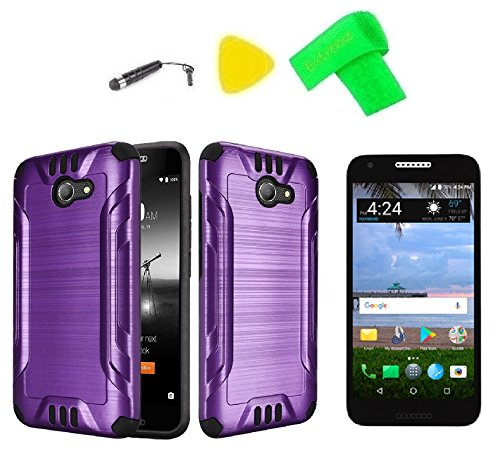 sports shoes eb1e0 e4cf8 Brush Hybrid Cover Phone Case + Screen Protector + Extreme Band + Stylus  Pen + Pry Tool For Alcatel ZIP LTE A577VL A576BL (Brush Purple-Black)