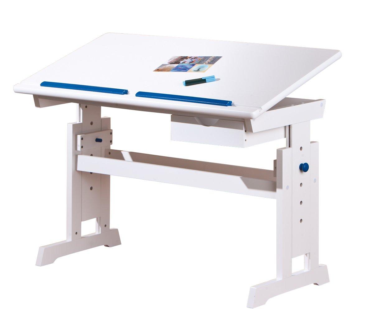 Links Baru 40100500 Children's Desk MDF/Solid Wood Adjustable Height and Tilt 1 Drawer 109 x 55 x 63/88 cm White/Pink/Blue F00011901051_WHITE