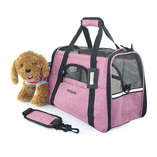 Pet Travel Carrier, Airline Approved Soft Sided Pet Portable Bag with Fleece Pet Mat for Dogs Cats Puppies (Red)