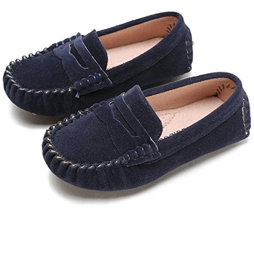 Blue Mens Pennies - Battle Men Little Kids Penny Loafers Flat Heel Slip On Toddler's Shoes For Boys & Girls Causal Comfortable (Color : Blue, Size : 9.5 M US Toddler)