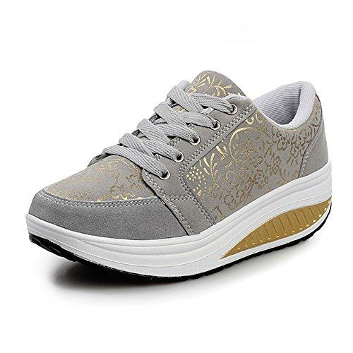 WYSBAOSHU Mujer Zapatos de Deporte Casual Correr Sneaker 1-gris