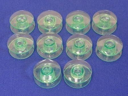 MANY MODELS 10 GREEN PLASTIC BOBBINS FITS HUSQVARNA VIKING SEWING MACHINES