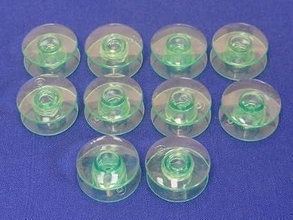 10 Bobinas Verdes Plasticas, para Maquinas de Coser HUSQVARNA VIKING, Muchos Modelos