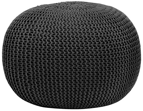 Urban Shop Round Knit Pouf, Black