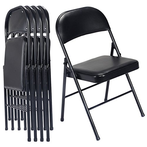 Black Steel PU Portable Folding Chair Set of 4 Office Picnic Event Furniture
