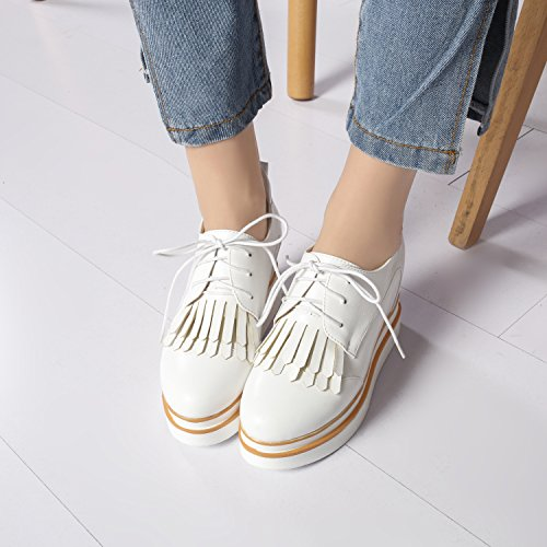 Heel Oxfords Lace Women's Shoes Platform Wedge Up Show White Shine UX0EwqxA