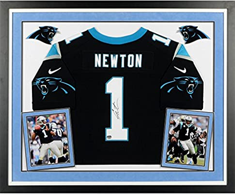 8a5b837b7 Cam Newton Carolina Panthers Deluxe Framed Autographed Nike Elite Black  Jersey - Fanatics Authentic Certified