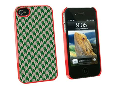 Graphics and More Preppy Houndstooth Green Gray Snap-On Hard Protective Case for Apple iPhone 4/4S - Non-Retail Packaging - (Iphone 4 Case Preppy)