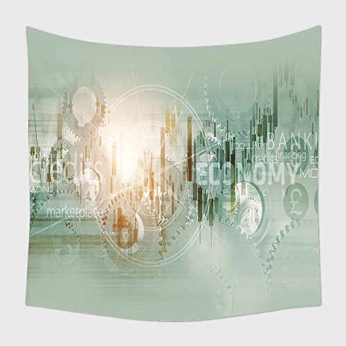 Home Decor Tapestry Wall Hanging Global Economy Abstract Background. World Economy Mechanism Conceptual Background Illustration With Trading Stats, Compass Rose And Some Mechanisms_51611863 for Bedroo