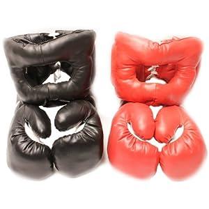 20oz - 2 Red & Black Boxing Sets: 2 Headgear & 2 Gloves