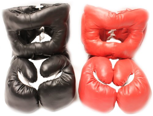 Boxing Gloves Headgear (20oz - 2 Red & Black Boxing Sets: 2 Headgear & 2 Gloves)