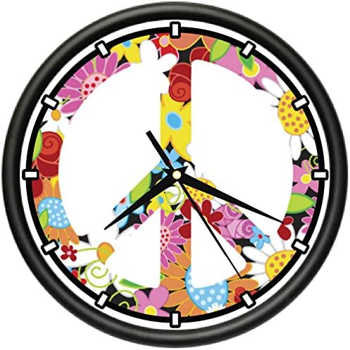 Peace Sign Flowers Wall Clock Hippie Love 60's Music Gift