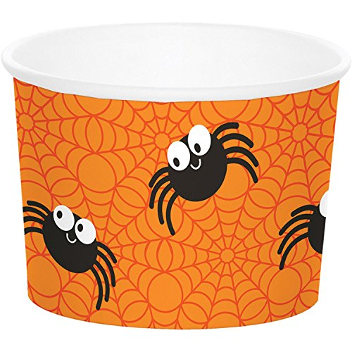 (Club Pack of 72 Orange and Black Halloween Spiders Treat Cups)