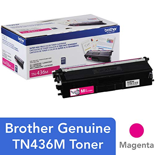 Brother Genuine Super High Yield Toner Cartridge, TN436M, Replacement Magenta Toner, Page Yield Up To 6,500 Pages, Amazon Dash Replenishment Cartridge, TN436 (Genuine High Yield Color)