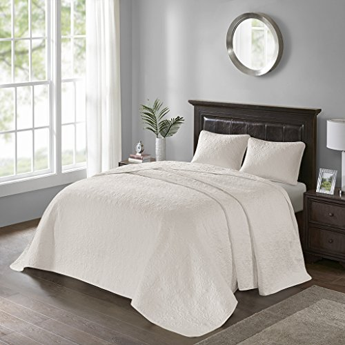 Madison Park Quebec Full Size Quilt Bedding Set - Ivory, Damask – 3 Piece Bedding Quilt Coverlets – Ultra Soft Microfiber Bed Quilts Quilted (Ivory Single Bed)