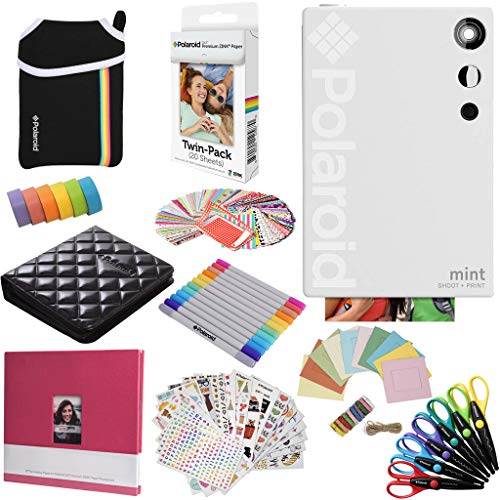Polaroid Mint Instant Digital Camera (White) All-in-Bundle + Paper (20 Sheets) + Deluxe Pouch + Photo Album + 9 Unique Sticker Sets + Markers + Scissors + Border Stickers and So Much More