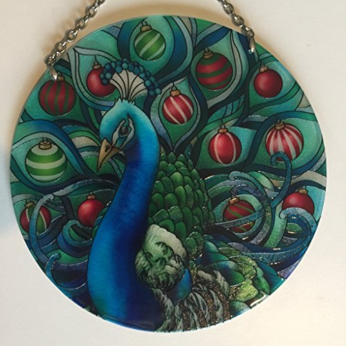 (New Design Painted Glass Suncatcher by Joan Baker Holiday Peacock)