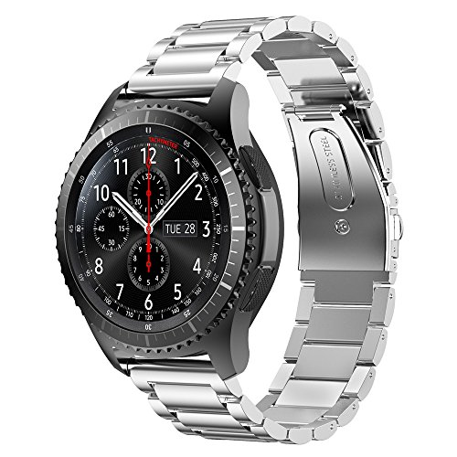 EloBeth for Samsung Gear S3 Stainless Steel Bands Link Bracelet Strap for Huawei Classic 2 / Gear S3 Classic / Gear S3 Frontier / Pebble Watch Band - Silver Bans