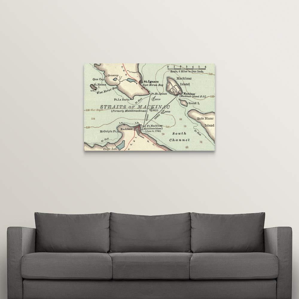 Amazon.com: Straits of Mackinac - Vintage Map Canvas Wall ...