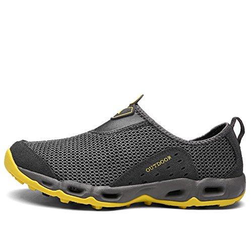 Gomnear Trekking Léger Mesh Hommes Chaussures Été Slip-on Marche Sneaker Respirant Gris Foncé