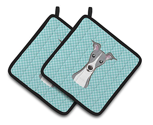 Caroline's Treasures Checkerboard Blue Italian Greyhound Pair of Pot Holders BB1174PTHD, 7.5HX7.5W, Multicolor
