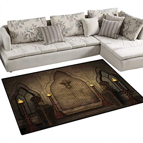 Gothic Area Rugs for Bedroom Fantasy Scene with Old Fashioned Wooden Torch and Skull Candlesticks in Dark Spooky Room Door Mats for Inside Non Slip Backing 3'x5' Brown