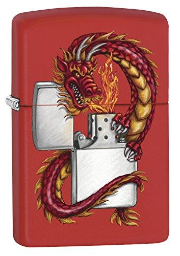 Zippo Custom Lighter: Dragon Wrapped Around Lighter - Red Matte -