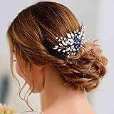 Olbye Wedding Hair Comb Blue Rhinestone Bridal Hair