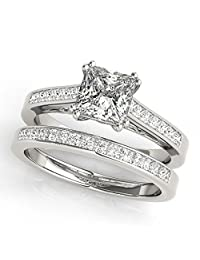 Women's Double Prong Princess-Cut Solitaire Diamond Bridal Set Palladium (1.50ct)
