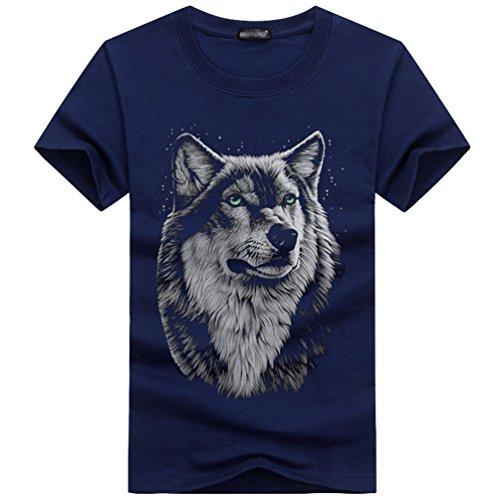 3d Niseng Longues Bleu Impression Tops Tête Col manches Loup Courtes Personnalité Hommes T Rond shirt Manches qaw4at