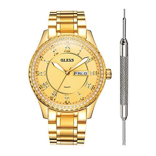 (OLEVS Men Gold Watch Luxury Wristwatches Diamond Watches Waterproof Fashion Quartz Watches Men Watch Stainless Steel Watch)