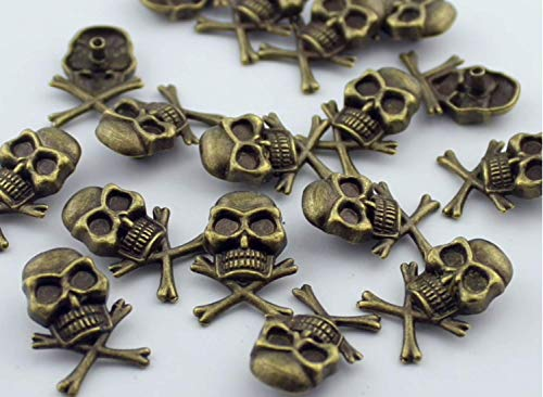 10Set Antique Brass Skull and Crossbones Rivets Leathercraft Brads Conchos Nailheads DP254 ()