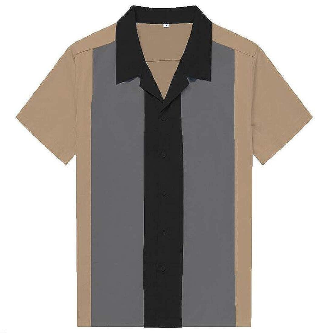 Spirio Men Casual Short Sleeve Patchwork Contrast Hip Hop Button Down Shirt