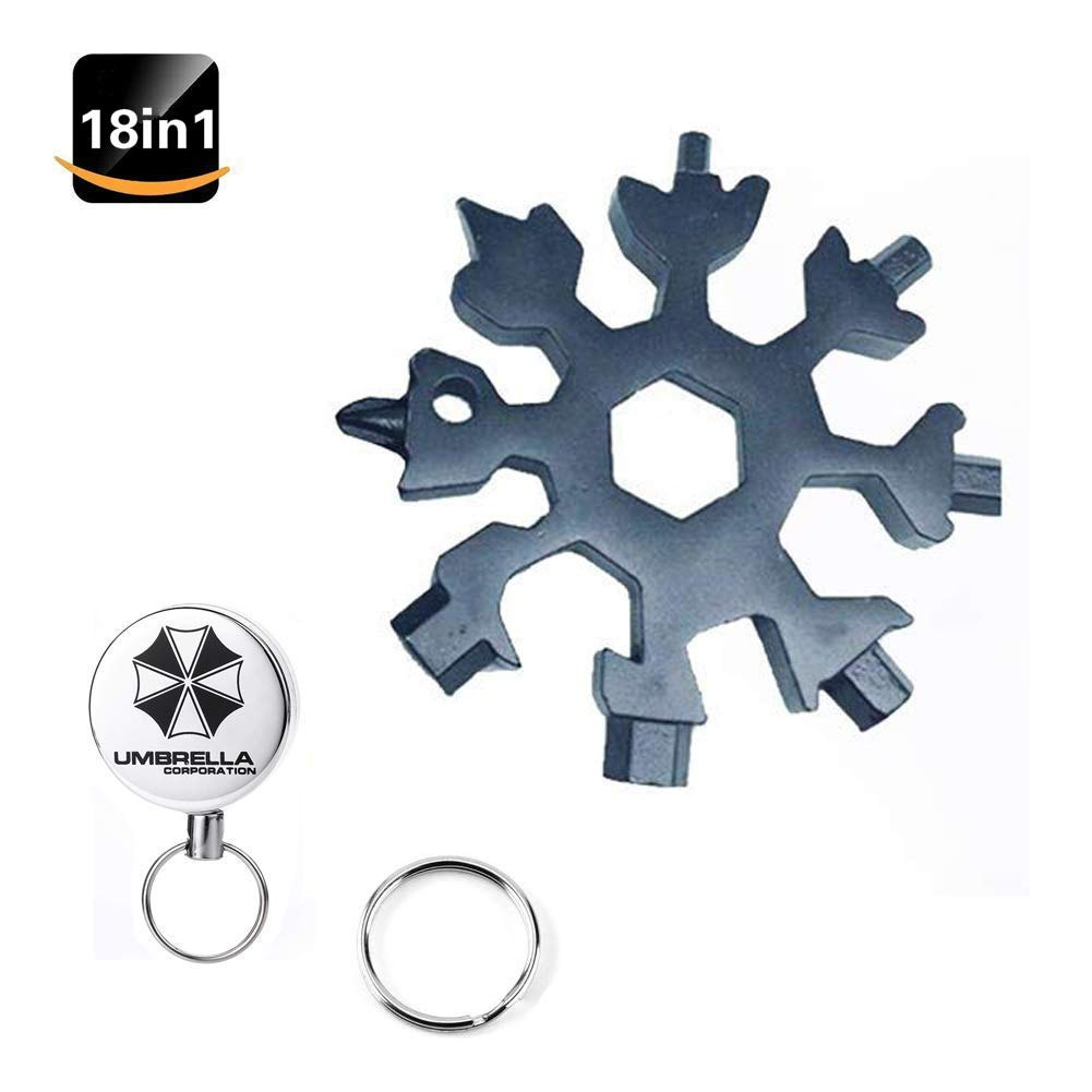 Warmsheep 18-in-1 Snowflake Multi-Tool Card, Stainless Steel Snowflake Multi-Tool Portable Keychain Screwdriver Bottle Opener Tool for Camping Gift for Men