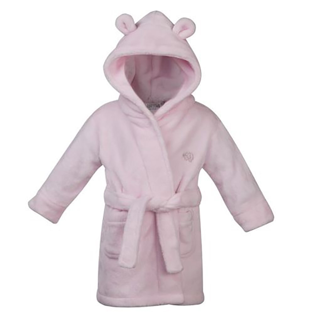 18-24 months Pink Fluffy Fleece Baby Girl's Dressing Gown Bath Robe with teddy ears Hoolaroo